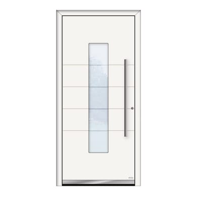 Portoncino d'ingresso QB50 bianco L 90 x H 210 cm destra