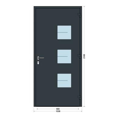 Portoncino d'ingresso QP40 grigio L 90 x H 210 cm destra