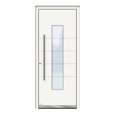 Portoncino d'ingresso QB50 bianco L 80 x H 210 cm destra