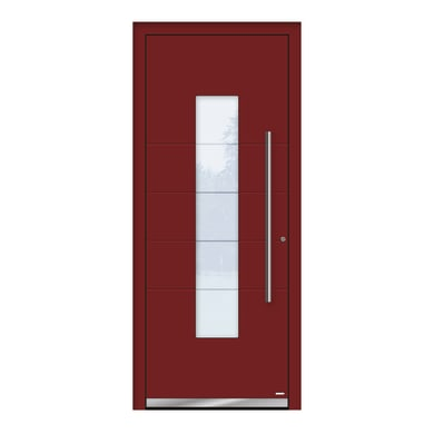 Portoncino d'ingresso QB50 rosso L 80 x H 210 cm destra