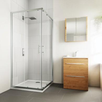 Box doccia rettangolare scorrevole Verve 120 x 90 cm, H 190 cm in vetro temprato, spessore 6 mm trasparente cromato
