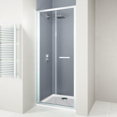 Porta doccia pieghevole Verve 90 cm, H 190 cm in vetro temprato, spessore 6 mm trasparente cromato