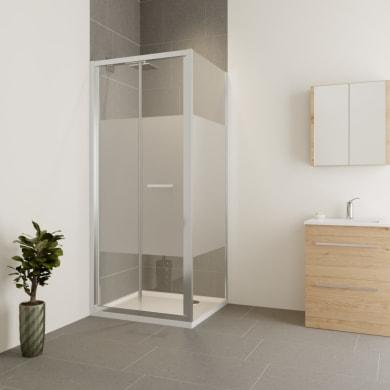 Box doccia angolare con porta pieghevole e lato fisso rettangolare Verve 75 x 70 cm, H 190 cm in vetro temprato, spessore 6 mm serigrafato cromato