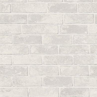 Carta da parati Mattoni bianco e grigio, 53 cm x 10 m