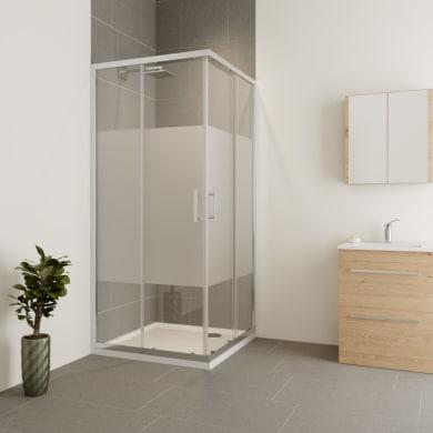 Box doccia rettangolare scorrevole Verve 120 x 90 cm, H 190 cm in vetro temprato, spessore 6 mm serigrafato cromato