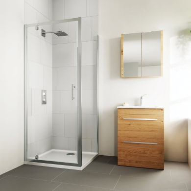 Box doccia angolare con porta a battente e lato fisso quadrato Verve 75 x 75 cm, H 190 cm in vetro temprato, spessore 6 mm trasparente cromato