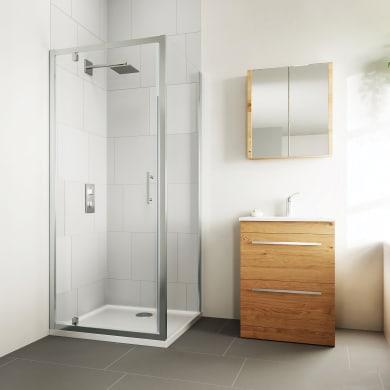 Box doccia angolare con porta a battente e lato fisso rettangolare Verve 75 x 70 cm, H 190 cm in vetro temprato, spessore 6 mm trasparente cromato