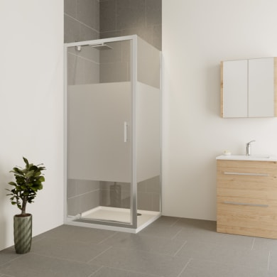 Box doccia angolare con porta a battente e lato fisso rettangolare Verve 100 x 90 cm, H 190 cm in vetro temprato, spessore 6 mm serigrafato cromato