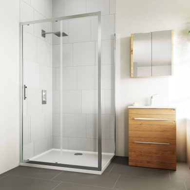 Box doccia angolare porta scorrevole e lato fisso rettangolare Verve 110 x 70 cm, H 190 cm in vetro temprato, spessore 6 mm trasparente cromato