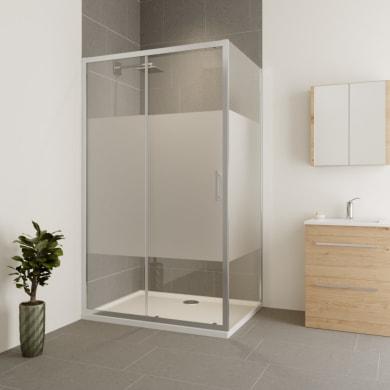 Box doccia angolare porta scorrevole e lato fisso rettangolare Verve 140 x 75 cm, H 190 cm in vetro temprato, spessore 6 mm serigrafato cromato