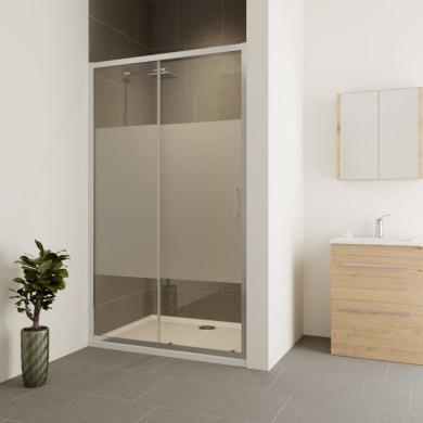 Porta doccia scorrevole Verve 120 cm, H 190 cm in vetro temprato, spessore 6 mm serigrafato cromato