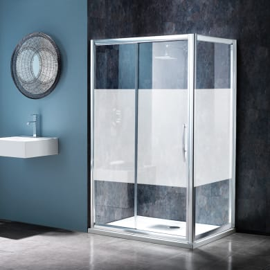 Box doccia angolare porta scorrevole e lato fisso rettangolare Namara 120 x 80 cm, H 195 cm in vetro temprato, spessore 8 mm serigrafato argento