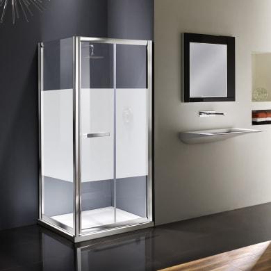 Box doccia angolare con porta pieghevole e lato fisso rettangolare Namara 80 x 70 cm, H 195 cm in vetro temprato, spessore 8 mm serigrafato argento