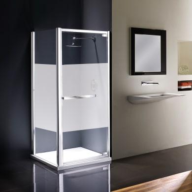 Box doccia angolare con porta a battente e lato fisso rettangolare Namara 90 x 80 cm, H 195 cm in vetro temprato, spessore 8 mm serigrafato argento