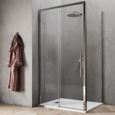 Box doccia angolare porta scorrevole e lato fisso rettangolare Sword 140 x 90 cm, H 200 cm in vetro temprato, spessore 8 mm trasparente cromato