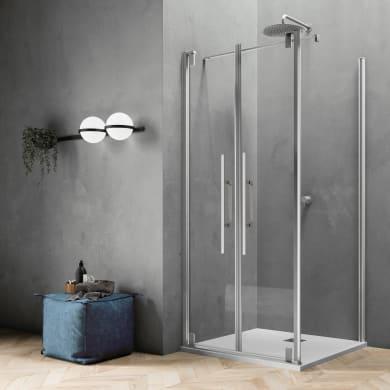 Box doccia rettangolare 2 ante a battente Sword 120 x 90 cm, H 200 cm in vetro temprato, spessore 8 mm trasparente cromato
