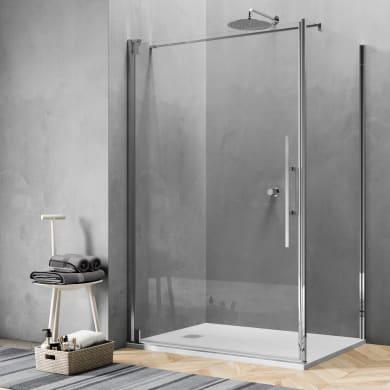 Box doccia angolare con porta a battente e lato fisso rettangolare Sword 90 x 70 cm, H 200 cm in vetro temprato, spessore 8 mm trasparente cromato