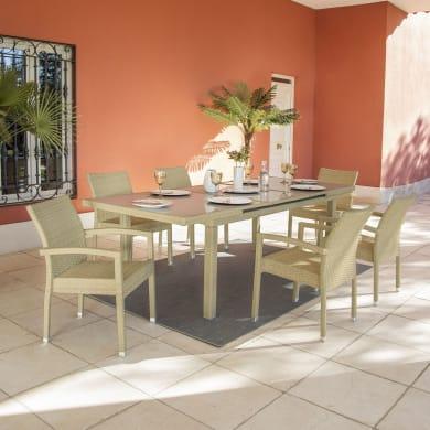 Set tavolo e sedie Costarica in alluminio beige 6 posti