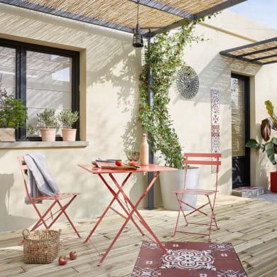 Set tavolo e sedie NATERIAL Flora in acciaio rosso 2 posti
