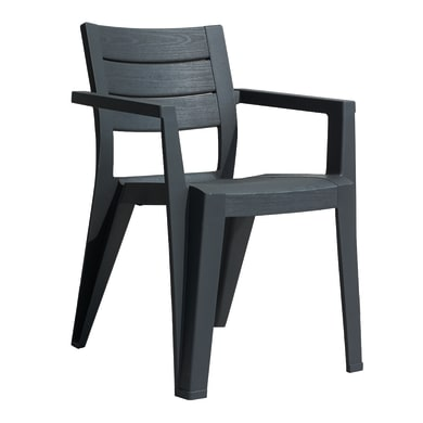 Sedia con braccioli in polipropilene Julie ALLIBERT colore graphite