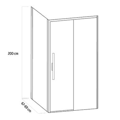 Lato fisso Sword 70 cm, H 200 cm in vetro temprato, spessore 8 mm trasparente cromato