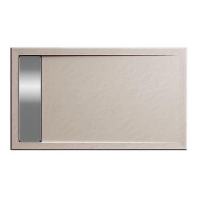 Piatto doccia acrilico rinforzato fibra di vetro Bali Stone 100 x 70 cm sabbia con superficie effetto ardesia
