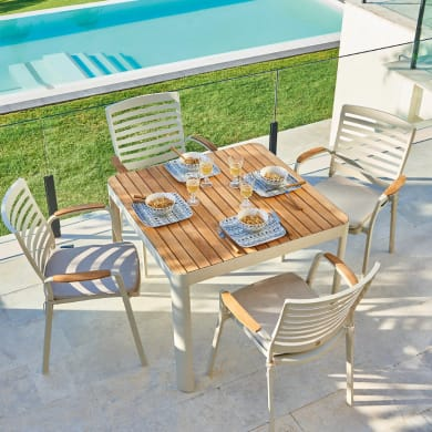 Set tavolo e sedie Portals in alluminio bianco 4 posti