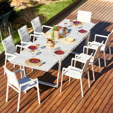 Set tavolo e sedie Upsilon in alluminio grigio / argento 8 posti