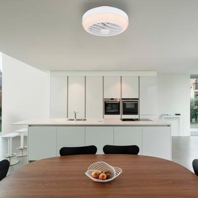 Ventilatore da soffitto LED integrato Romario pale a scomparsa, bianco, con telecomando