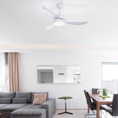 Ventilatore da soffitto LED integrato Ramona, bianco, con telecomando