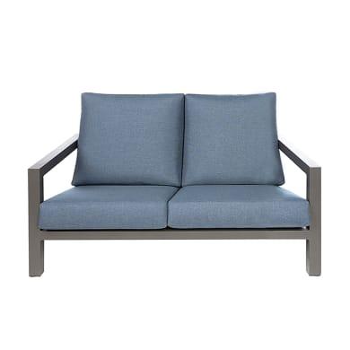 Divano da giardino con cuscino 2 posti in alluminio Indianapolis colore struttura grigio antracite, cuscini blu