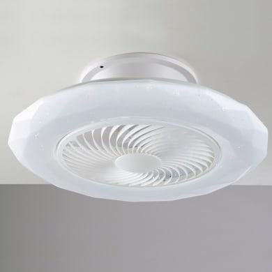 Ventilatore da soffitto LED integrato Skyron, bianco, D. 55 cm, con telecomando