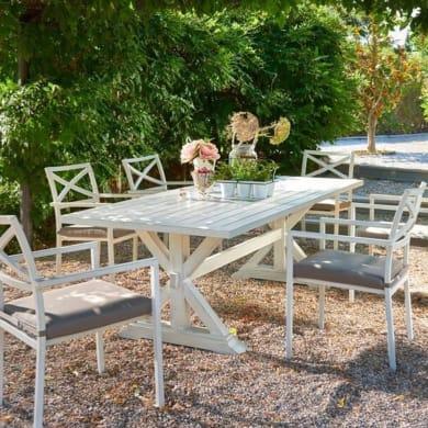 Set tavolo e sedie Charlotte in alluminio bianco 6 posti