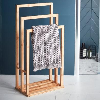 Piantana porta asciugamani Bamboo in bambù opaco marrone