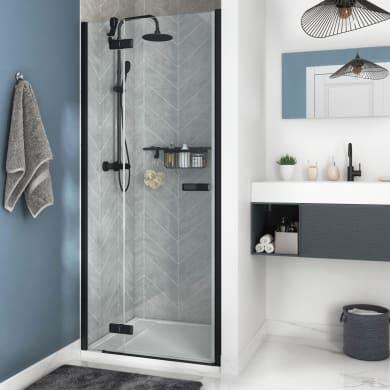 Porta doccia 1 anta fissa + 1 anta scorrevole Neo 80 cm, H 200 cm in vetro, spessore 8 mm trasparente nero