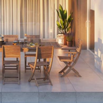 Set tavolo e sedie NATERIAL Solaris in acacia marrone 6 posti