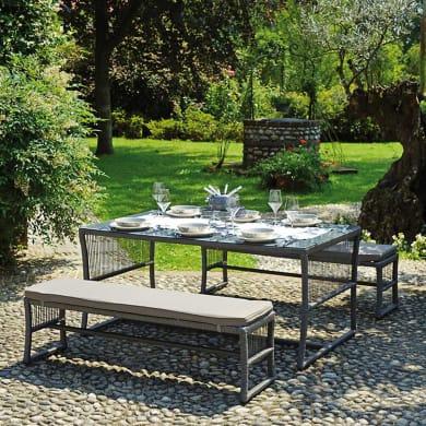 Set tavolo e sedie DS 05 in metallo grigio / argento 6 posti