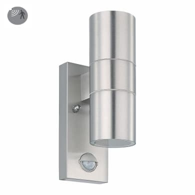 Applique Riga con sensore di movimento, in acciaio inossidabile, grigio, 6W 480LM IP44 EGLO