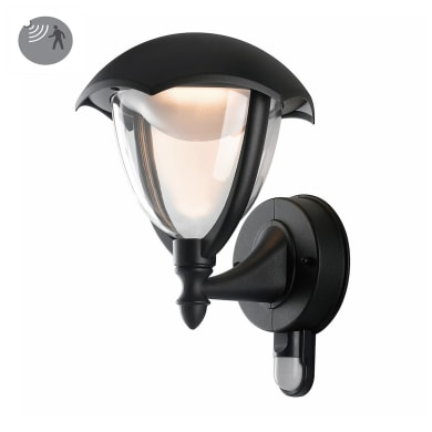 Applique Megan LED integrato con sensore di movimento, in alluminio, nero, 12W 800LM IP44