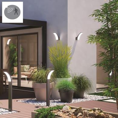 Applique Lakko LED integrato con sensore di movimento, in alluminio, grigio, 11W 1500LM IP44 INSPIRE