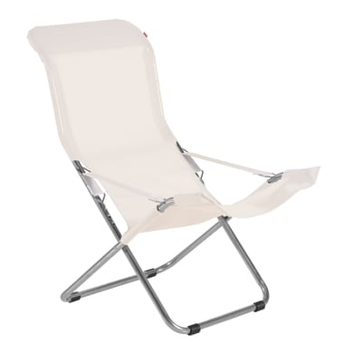Sedia a sdraio pieghevole Comfort in metallo beige