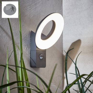 Applique Quito LED integrato con sensore di movimento, in alluminio, grigio, 16W 1100LM IP54 INSPIRE