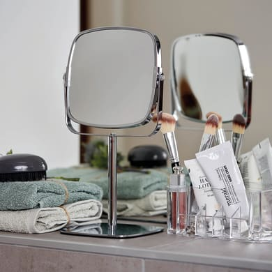 Specchio ingranditore quadrato Kare L 17 x H 29.5 cm Ø 15 cmWenko
