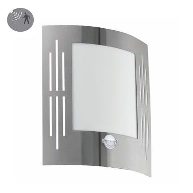 Applique City 1 alluminio con sensore di movimento, in acciaio inossidabile, grigio, E27 MAX60W IP44 EGLO