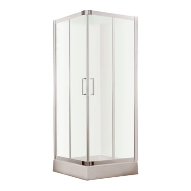 Box doccia rettangolare 2 ante fisse + 2 ante scorrevoli VANITA' 70 x 90 cm, H 190 cm in vetro temprato, spessore 6 mm trasparente cromato
