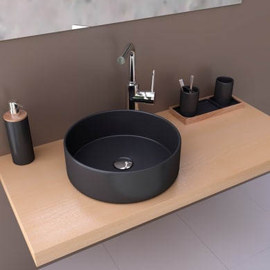 Lavabo da appoggio / per mobili rettangolare MARSALA NERO OPACO 35,5Øx11,5 in ceramica L 35.5 x P 10.5 x H 11.5 cm nero