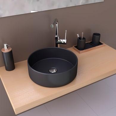 Lavabo da appoggio / per mobili rettangolare Marsala in ceramica L 35.5 x P 10.5 x H 11.5 cm nero