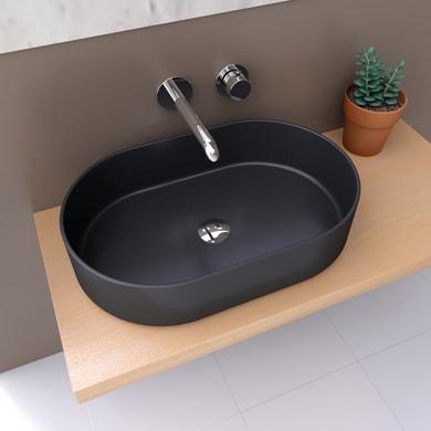 Lavabo da appoggio / per mobili ovale TRAPANI  in ceramica L 60 x P 12.5 x H 13.5 cm nero