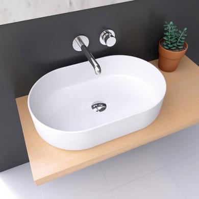 Lavabo da appoggio / per mobili ovale TRAPANI BIANCO OPACO 60x38x13,5 in ceramica L 60 x P 12.5 x H 13.5 cm bianco