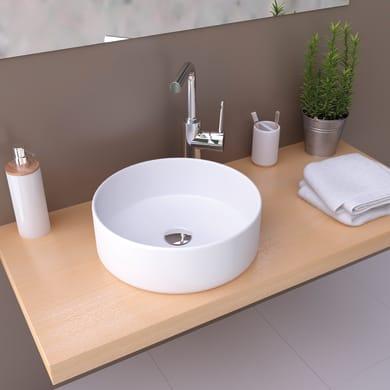 Lavabo da appoggio / per mobili rotondo MARSALA BIANCO OPACO 35,5Øx11,5 in ceramica Ø 35.5 x H 11.5 cm bianco